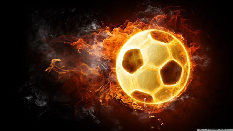 Burning soccer ball HD wallpaper