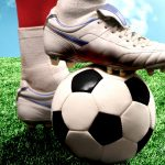 Foot on a football wallpaper