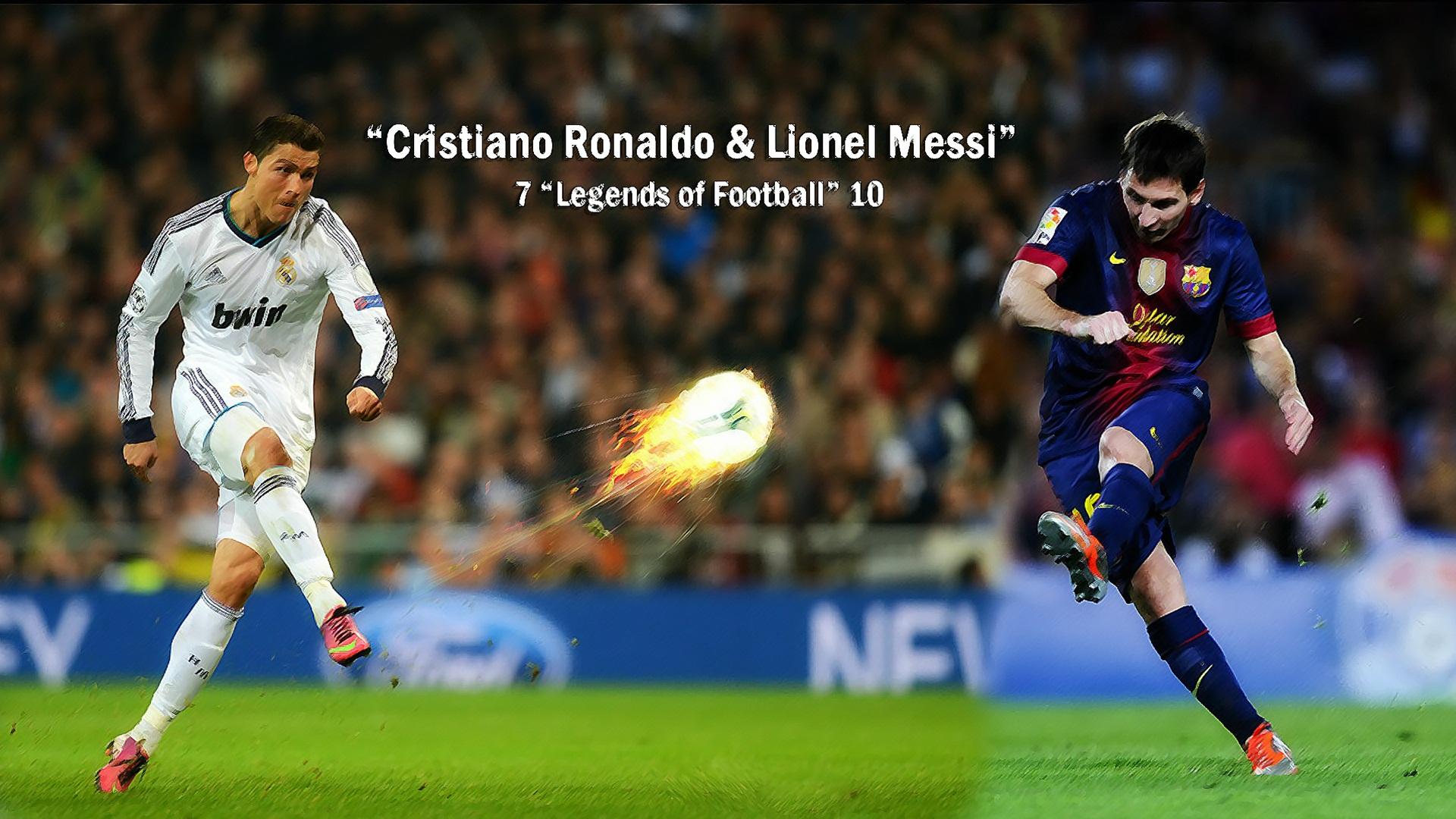 Cristiano Ronaldo With Lionel Messi Ball On Fire Wallpaper