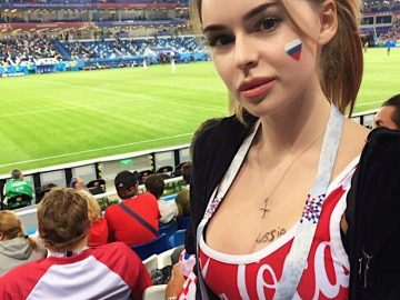 hot female football fans at the world cup 2018 stadium russia